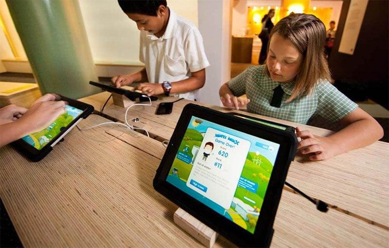 children using iPad in museum