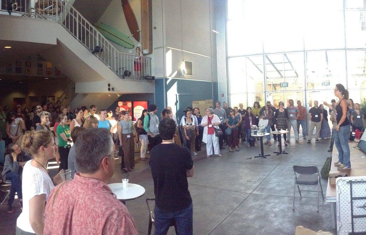Nina Simon addressing a group at Santa Cruz Museum of Art and History