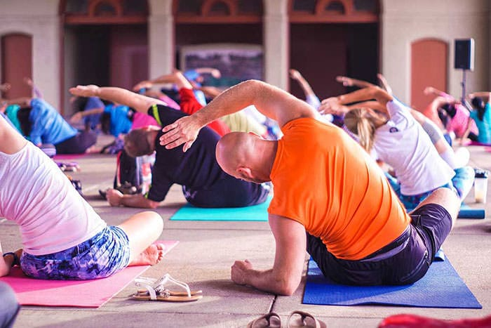 Yoga class in the museum