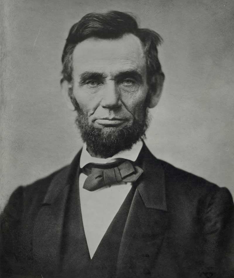 Abraham Lincoln, head-and-shoulders portrait, facing front]. Photograph by photographer Alexander Gardner