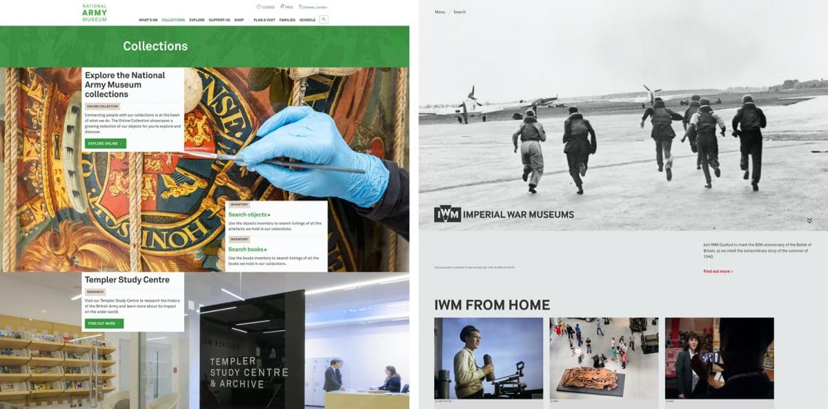 Websites for the National Army Museum and Imperial War Museum