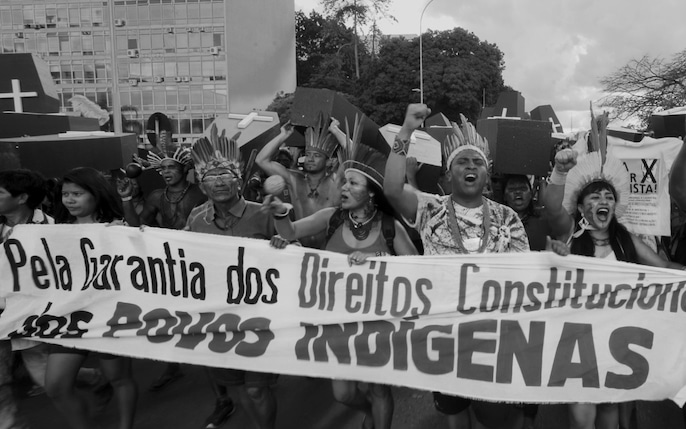 A climate change protest on the streets of Brasilia