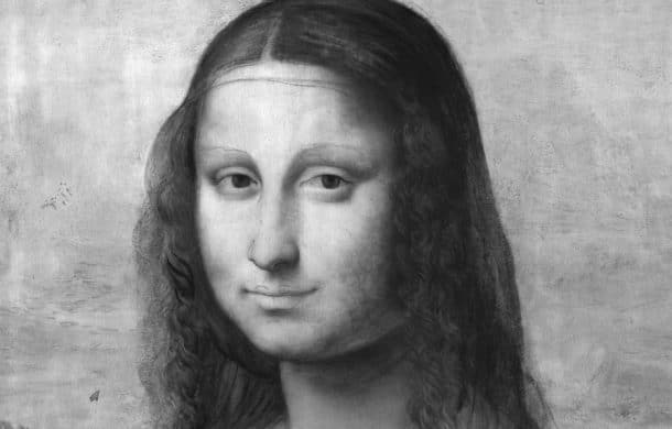 Infrared reflectogram of The Mona Lisa, (Museo Nacional del Prado), detail Made by the Museo Nacional de Prado